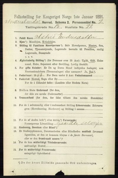 Image from object titled Folketelling 1891 - Nord-Aurdal - personsedler - side 5855