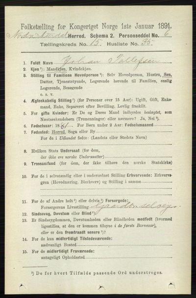 Image from object titled Folketelling 1891 - Nord-Aurdal - personsedler - side 5938