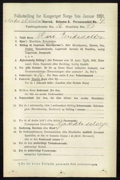 Image from object titled Folketelling 1891 - Nord-Aurdal - personsedler - side 6009
