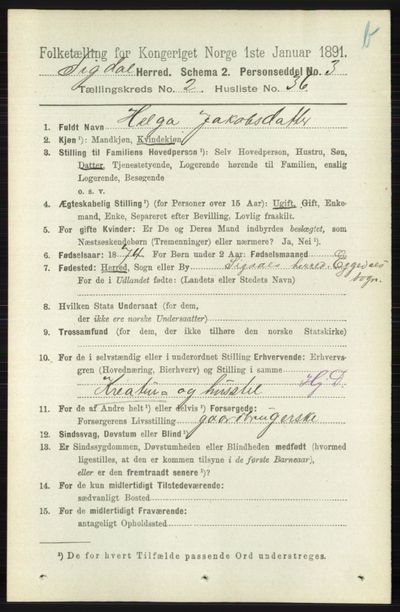 Image from object titled Folketelling 1891 - Sigdal - personsedler - side 4090