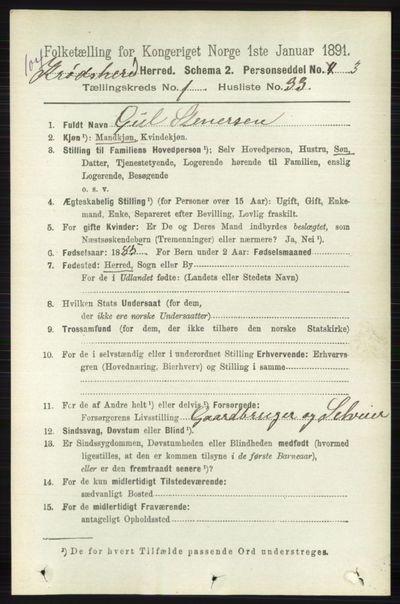 Image from object titled Folketelling 1891 - Sigdal - personsedler - side 5174