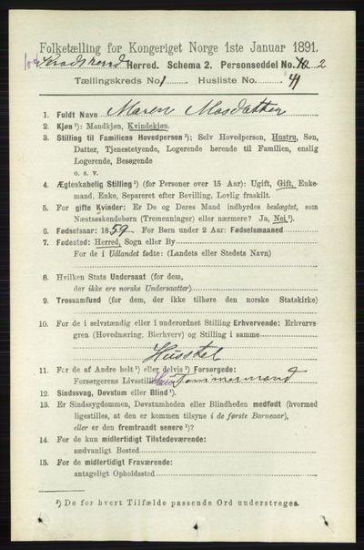 Image from object titled Folketelling 1891 - Sigdal - personsedler - side 5208