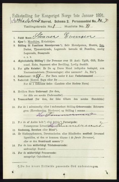 Image from object titled Folketelling 1891 - Sigdal - personsedler - side 5213