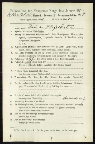 Image from object titled Folketelling 1891 - Sigdal - personsedler - side 5230