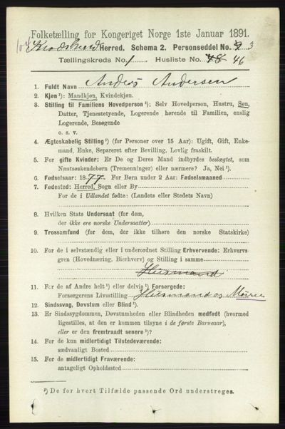 Image from object titled Folketelling 1891 - Sigdal - personsedler - side 5234
