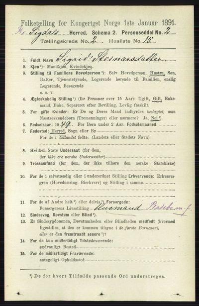 Image from object titled Folketelling 1891 - Sigdal - personsedler - side 5421
