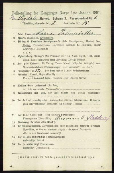 Image from object titled Folketelling 1891 - Sigdal - personsedler - side 5425