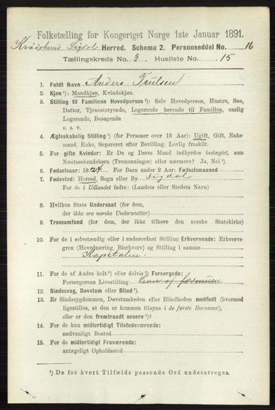 Image from object titled Folketelling 1891 - Sigdal - personsedler - side 5679