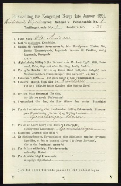 Image from object titled Folketelling 1891 - Sigdal - personsedler - side 5777