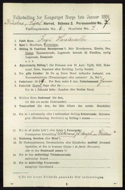 Image from object titled Folketelling 1891 - Sigdal - personsedler - side 6677