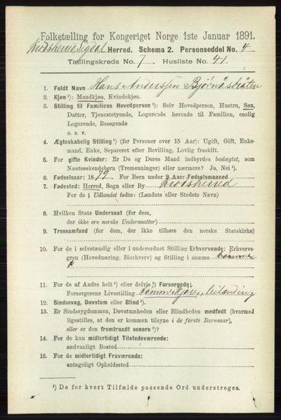 Image from object titled Folketelling 1891 - Sigdal - personsedler - side 7274