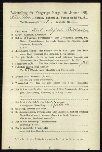Image from object titled Folketelling 1891 - Nedre Eiker - personsedler - side 623