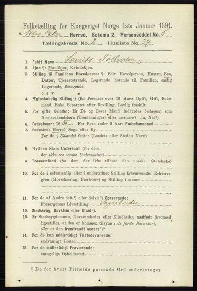 Image from object titled Folketelling 1891 - Nedre Eiker - personsedler - side 749