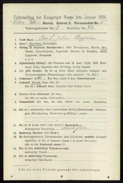 Image from object titled Folketelling 1891 - Nedre Eiker - personsedler - side 784