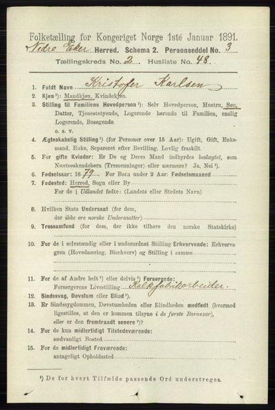 Image from object titled Folketelling 1891 - Nedre Eiker - personsedler - side 806