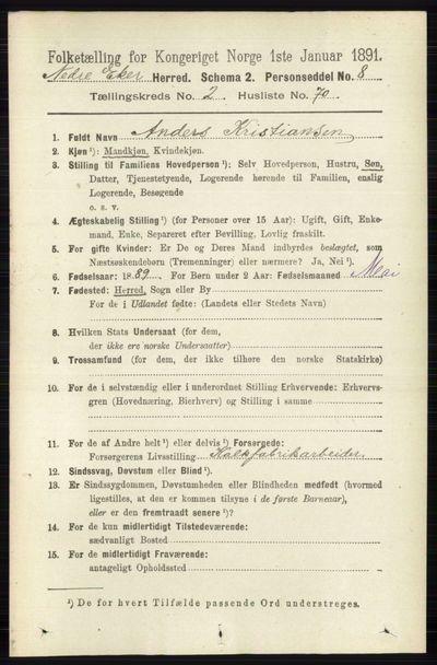Image from object titled Folketelling 1891 - Nedre Eiker - personsedler - side 917