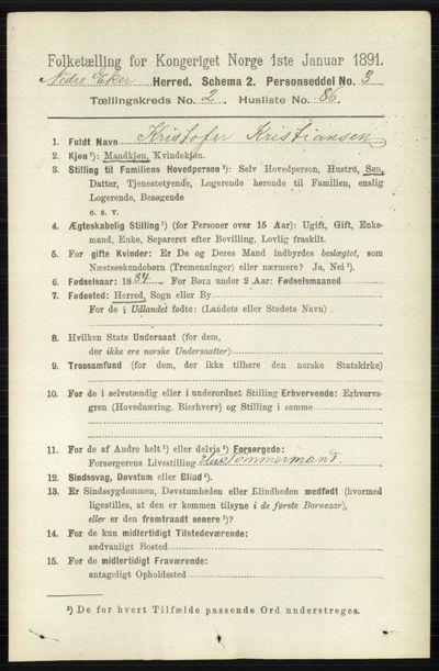 Image from object titled Folketelling 1891 - Nedre Eiker - personsedler - side 1012