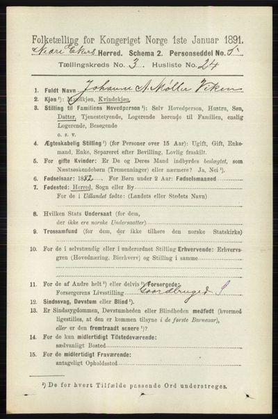 Image from object titled Folketelling 1891 - Nedre Eiker - personsedler - side 1308