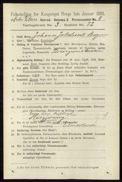 Image from object titled Folketelling 1891 - Nedre Eiker - personsedler - side 1583