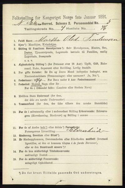 Image from object titled Folketelling 1891 - Nedre Eiker - personsedler - side 2196