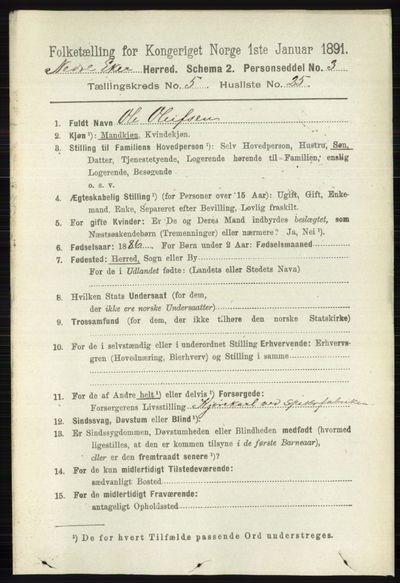 Image from object titled Folketelling 1891 - Nedre Eiker - personsedler - side 2468