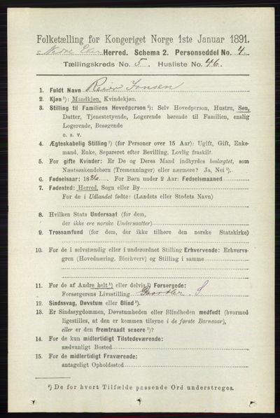 Image from object titled Folketelling 1891 - Nedre Eiker - personsedler - side 2597