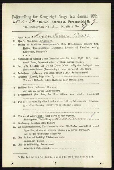 Image from object titled Folketelling 1891 - Nedre Eiker - personsedler - side 2616