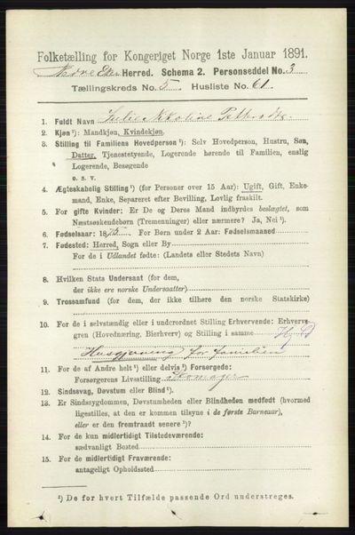 Image from object titled Folketelling 1891 - Nedre Eiker - personsedler - side 2700