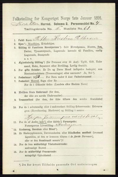 Image from object titled Folketelling 1891 - Nedre Eiker - personsedler - side 2701