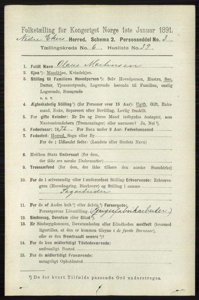 Image from object titled Folketelling 1891 - Nedre Eiker - personsedler - side 3099