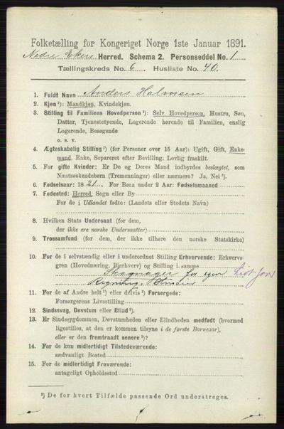 Image from object titled Folketelling 1891 - Nedre Eiker - personsedler - side 3105