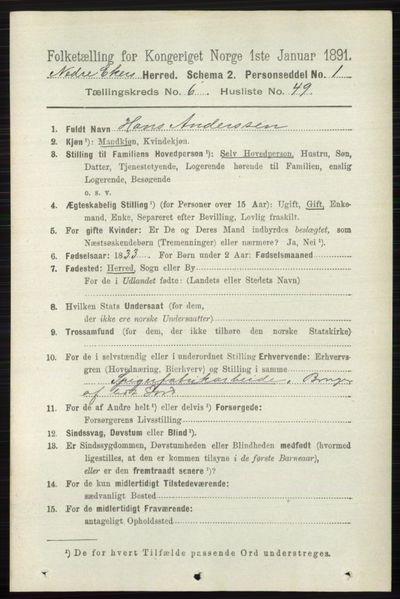 Image from object titled Folketelling 1891 - Nedre Eiker - personsedler - side 3144