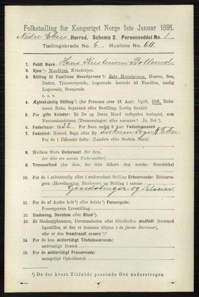 Image from object titled Folketelling 1891 - Nedre Eiker - personsedler - side 3194