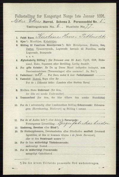 Image from object titled Folketelling 1891 - Nedre Eiker - personsedler - side 3288