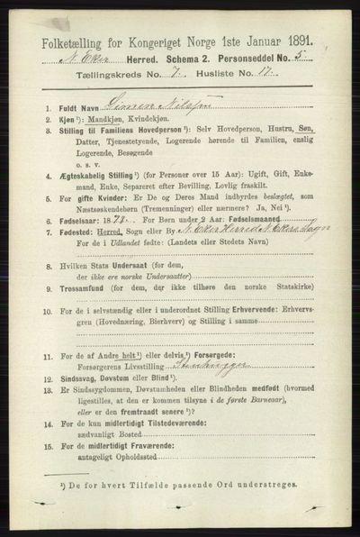 Image from object titled Folketelling 1891 - Nedre Eiker - personsedler - side 3503