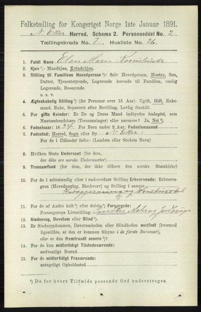 Image from object titled Folketelling 1891 - Nedre Eiker - personsedler - side 3553