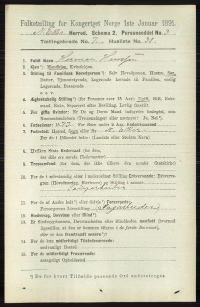Image from object titled Folketelling 1891 - Nedre Eiker - personsedler - side 3591