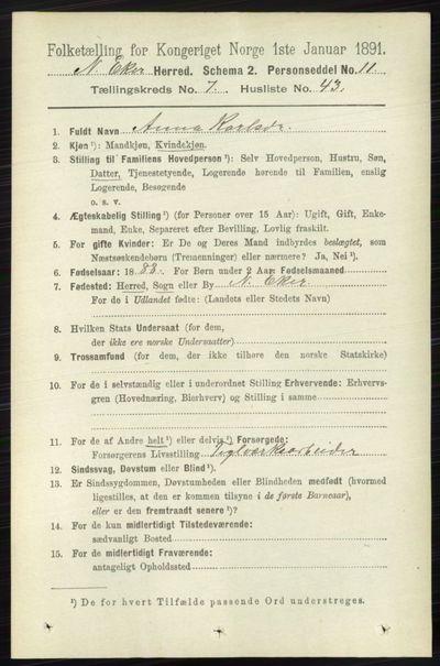 Image from object titled Folketelling 1891 - Nedre Eiker - personsedler - side 3675