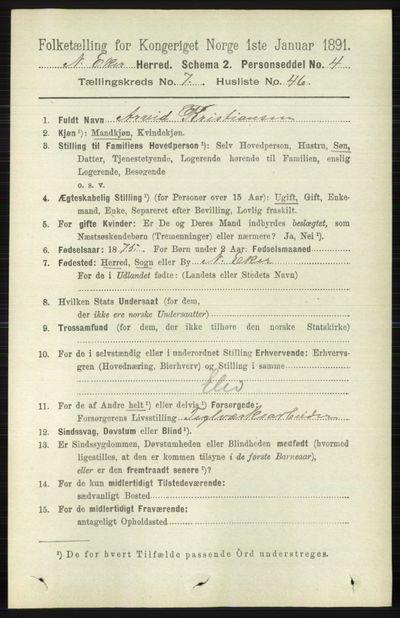 Image from object titled Folketelling 1891 - Nedre Eiker - personsedler - side 3721