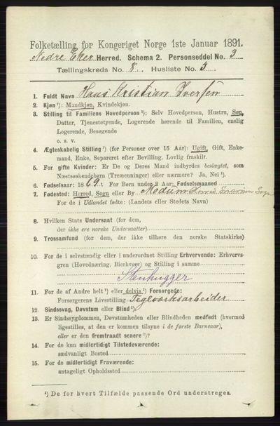 Image from object titled Folketelling 1891 - Nedre Eiker - personsedler - side 3983