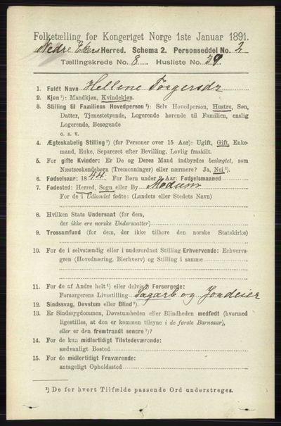 Image from object titled Folketelling 1891 - Nedre Eiker - personsedler - side 4197