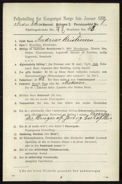 Image from object titled Folketelling 1891 - Nedre Eiker - personsedler - side 4224