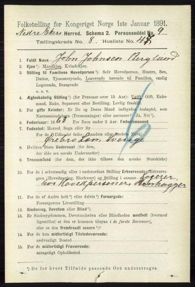 Image from object titled Folketelling 1891 - Nedre Eiker - personsedler - side 4256