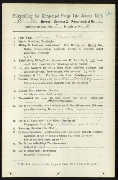 Image from object titled Folketelling 1891 - Øvre Eiker - personsedler - side 600