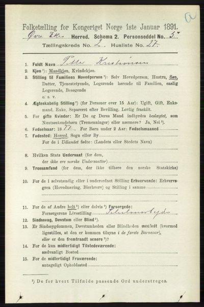 Image from object titled Folketelling 1891 - Øvre Eiker - personsedler - side 691