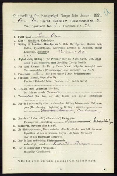 Image from object titled Folketelling 1891 - Øvre Eiker - personsedler - side 785