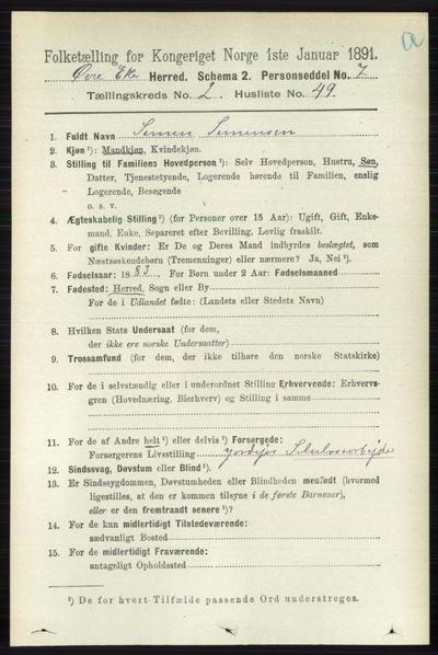 Image from object titled Folketelling 1891 - Øvre Eiker - personsedler - side 811