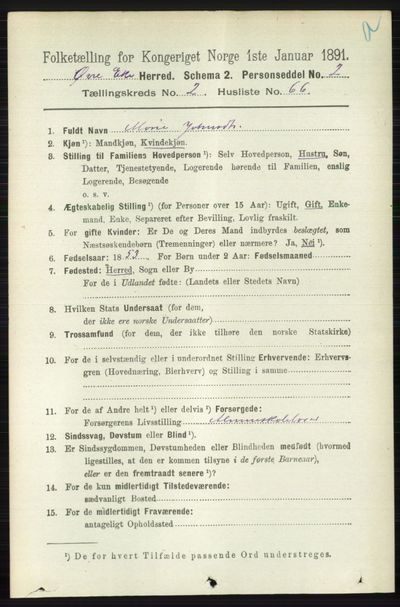 Image from object titled Folketelling 1891 - Øvre Eiker - personsedler - side 915