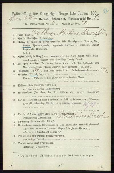 Image from object titled Folketelling 1891 - Øvre Eiker - personsedler - side 1268