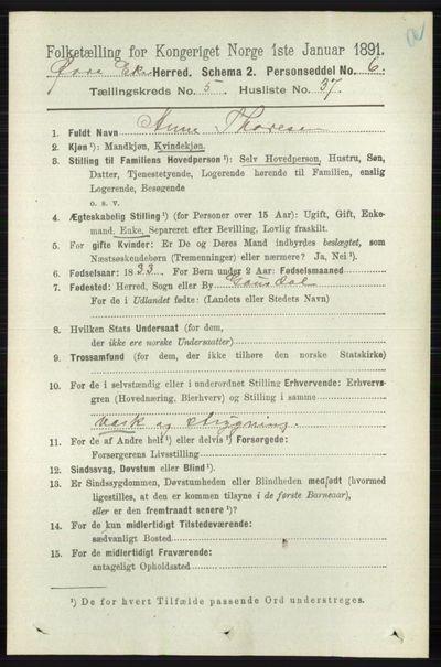 Image from object titled Folketelling 1891 - Øvre Eiker - personsedler - side 2039